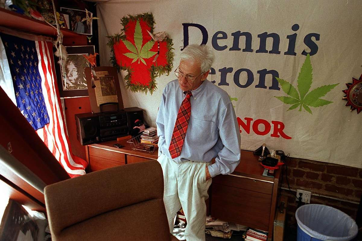 Photo of Dennis Peron in his San Francisco 'Cannabis Buyers Club' - Photo credit: The San Francisco Chronicle